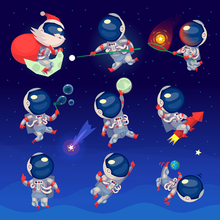 Set of cute astronauts in space, working playing games and having fun. Astronauts in space suits with no gravity. Isolated vector images.