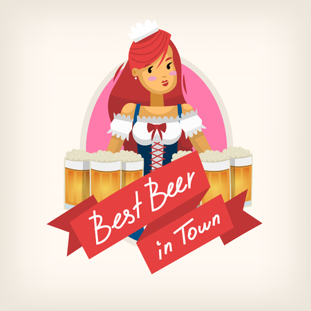 Label for a beer pub isolated vector illustration. Иллюстрация