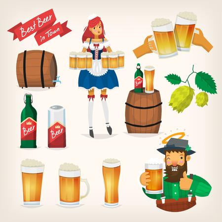 ビール祭り要素ベクトル イラストです。