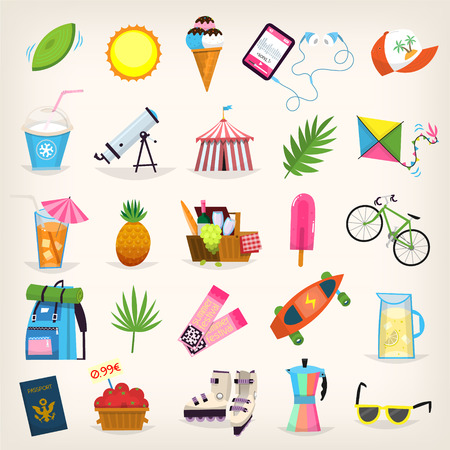 Summer symbols elements vector illustration. Иллюстрация