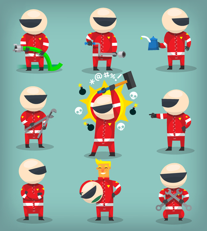 Set of colorful racing participants, champions, engineers and pit stop workers Illustration