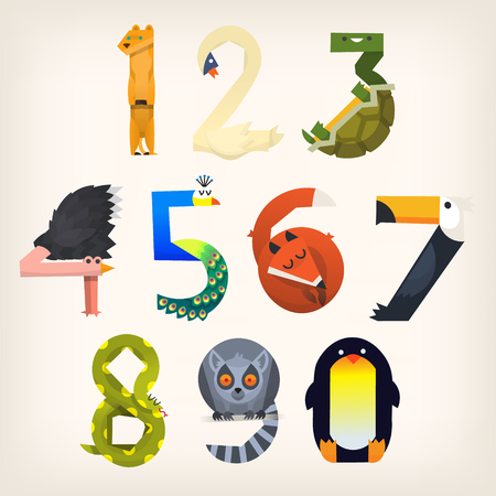 Set of animals shaped like numbers from 0 to 9. Vector illustrations for elementary education. Иллюстрация