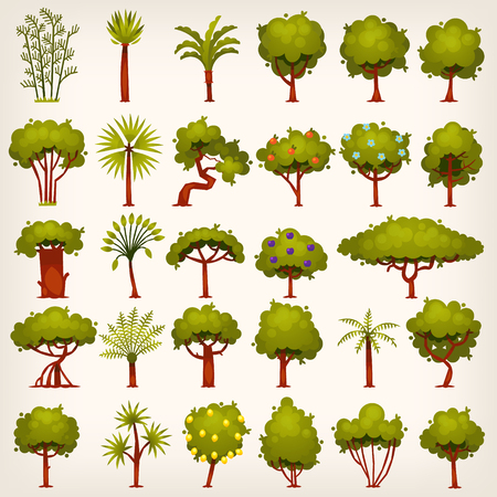 Collection of bushes, trees, palms and pines icons for your design. Flat game design elements. Vector illustrations.