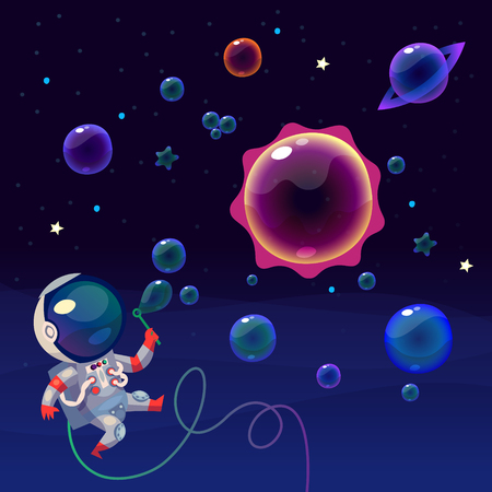 Cute astronaut in space making bubbles in shapes of planets of solar system, having fun. EPS 10. Isolated images. Illustration