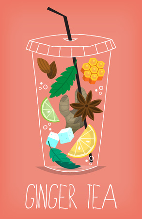 Transparent glass with ingredients for making refreshing spicy moroccan ginger root herbal tea. Vector illustration