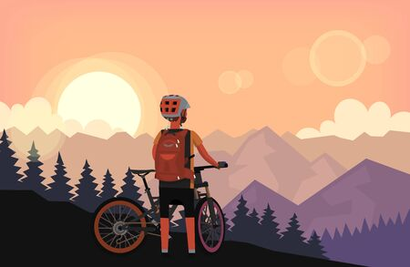 Bike rider on top of the mountain with forest on the hills is watching sunset. Vector illustration poster