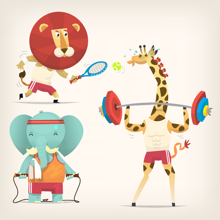 Animals in t-shirts doing sports. Vector illustrations