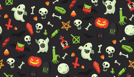 Bright cartoon Halloween pattern with traditional october holiday items. All elements can be used as isolated halloween decorations. Sweets, desserts and scary objects. Pattern swatch included
