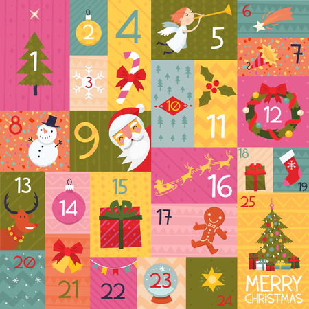 Colorful advent calendar illustration with christmas elements and numbers. Иллюстрация