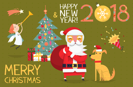 Colorful card illustration with christmas elements and characters.