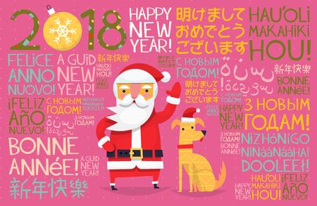 Kleurrijke kaartillustratie met Kerstmiselementen en karakters.
