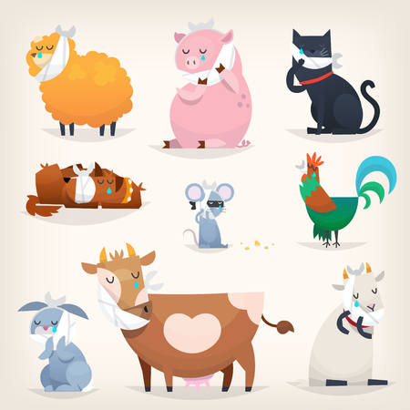 Set of popular colorful vector farm animals and birds with ill teeth. Posters for the dentists clinic.