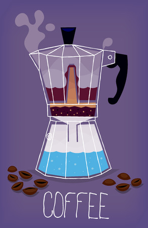 Illustration with transparent metal italian coffee maker showing the stages of the process of making moka coffee.