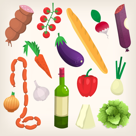 Set of food and products purchased at organic market. Poster with vector illustration of food.
