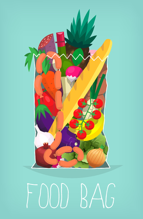 Paper bag full of food and products purchased at organic market. Poster with vector illustration of transparent bag of food.