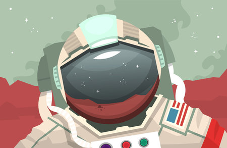 Astronaut in outer space illustration. Stock Vector - 96237382