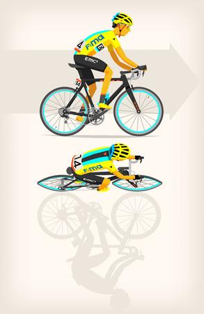 Man riding bike at full speed. Ilustrace