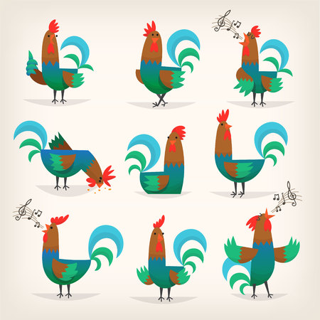 Rooster from farm illustration Stock Vector - 96618892