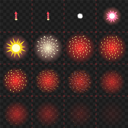 Cartoon firework explosion animation Иллюстрация