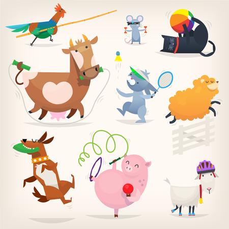 Farm animals doing sports illustration. Иллюстрация