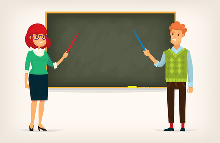 Man and woman at the blackboard. Illustration