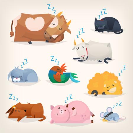 Sleeping cute animals set
