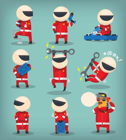 Racing car workers
