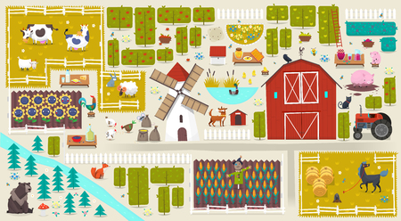 Poster with farm elements isolated on plain background