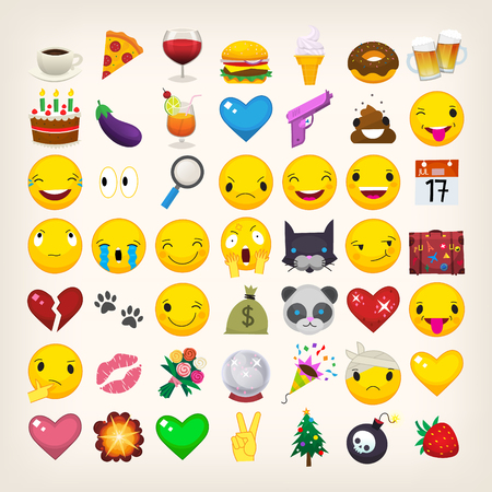 Set of most popular emoticons. Flat vector emojis.