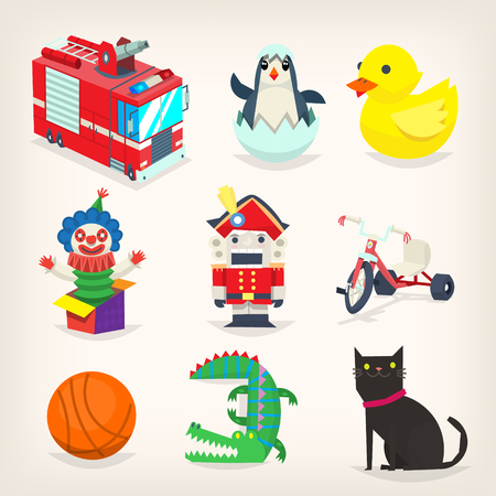 Set of colorful toys for kids games and retro christmas presents. Isolated vector images