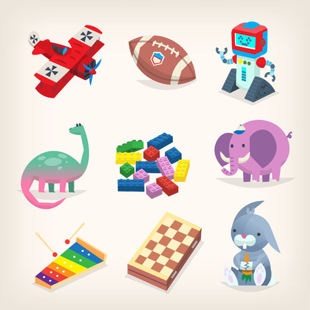Various classic toys for kids. Colorful isolated vector images.