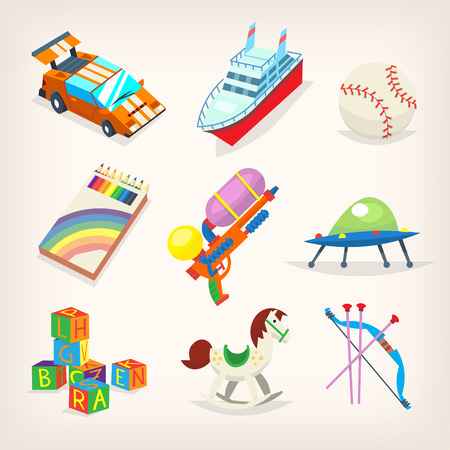 Set of colorful toys for kids games. Gifts for children holidays. Isolated vector icons