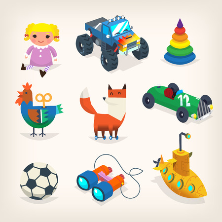 Collection of toys for children games and holiday presents for kids. Isolated vector icons Illustration