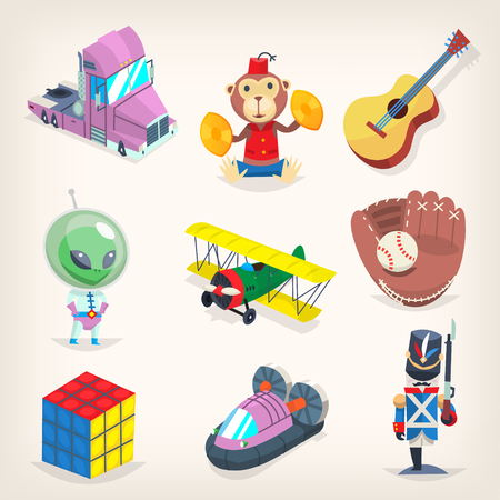 Set of colorful toys for kids games, recreation and holiday presents. Isolated vector illustrations