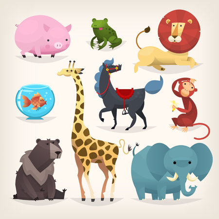 Set of colorful funny cartoon animals from a zoo. Isolated vector elements.