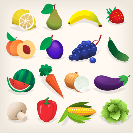 Set of colorful fresh fruit and vegetables. vector illustration design. Иллюстрация