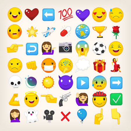 Collection of graphic emoticons, signs and symbols used in online chats Illustration