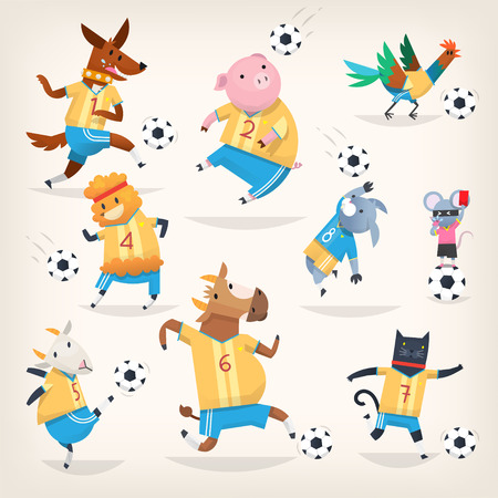 Cute farm animals team playing soccer on different positions. First team.