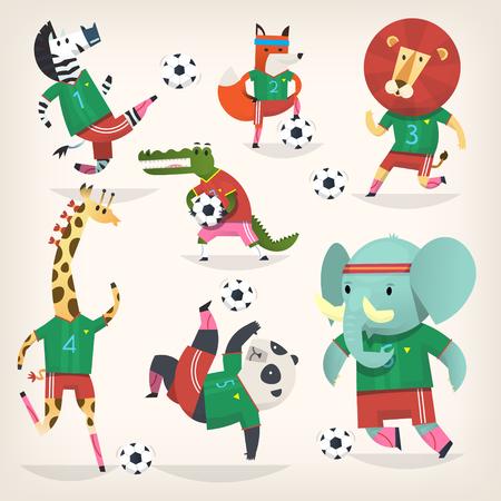 Team of wild animals playing football. Second team Stock Illustratie