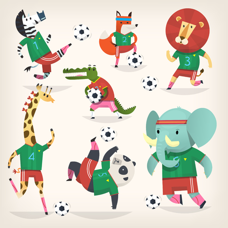 Team of wild animals playing football. Second team Illustration