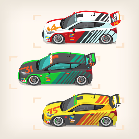 Set of colorful fast motor racing cars on a start line. Vector illustrations Иллюстрация