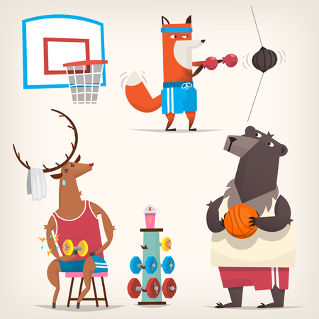 Wild Animals from woods wearing retro t-shirts and shorts doing sports. Vector illustrations