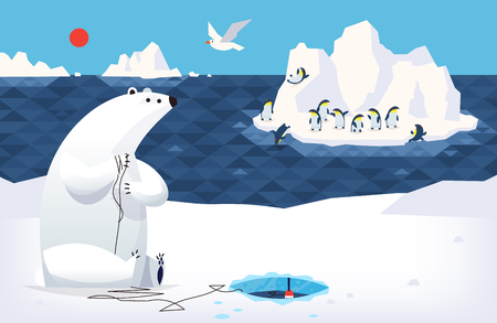 White bear on north pole catching fish on ice. While a bunch of penguins is dancing on the background iceberg. Vector illustration