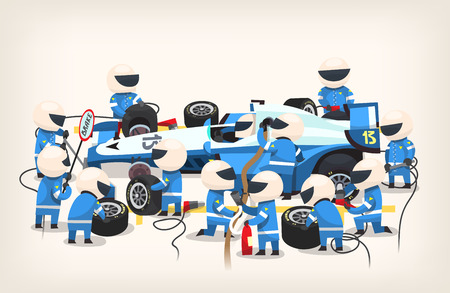 Colorful image with pit stop workers and engineers wearing blue uniform maintaining technical service for a racing car during competition event. Vector illustration