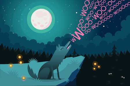 Lonely wolf sitting on the edge of a cliff near a dark forest at night is howling on full moon inviting friends from the forest to join. Vector illustration Banque d'images - 115098524