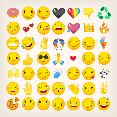 Set of most popular emoticons. Flat vector hand drawn emojis with simple colors. Isolated line art icons. Part 3 Illustration