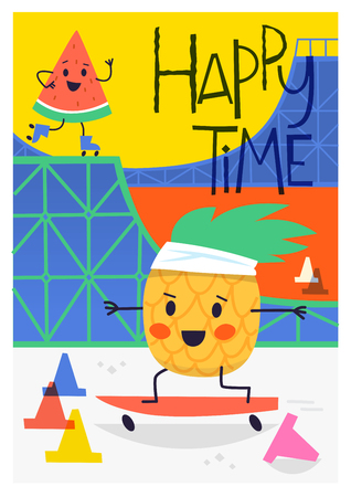 Bright summer poster with a pineapple character skating and a watermelon roller blading in halfpipe ramp at skate park. Vector illustration