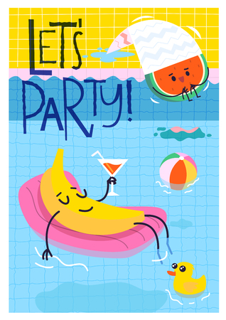 Banana character lying at air mattress in swimming pool relaxing with closed eyes holding cocktail in his hand. Summer vector poster. Invitation to a pool party.