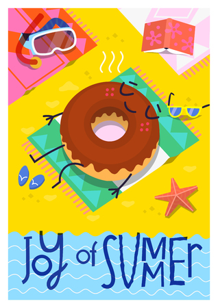 Chocolate doughnut character sunbathing on the beach near the water at tropical resort. Funny summer vector card
