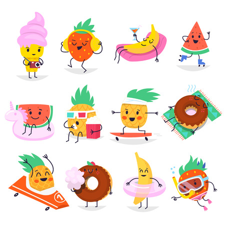 Cute summer characters having fun time, relaxed in typical summer situations. Vector elements for creating invitations, posters and greeting cards for summer parties